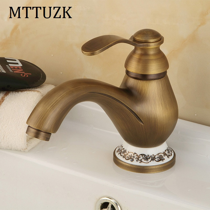 Mttuzk antique brass bathroom faucet basin faucet hot - White porcelain bathroom fixtures ...