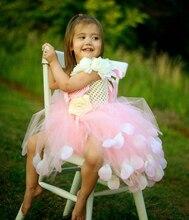 Детская Одежда Девушки Платье Многоцветный Лепесток Розы Платье Девушки Цветка Платье Принцессы Платье в фиолетовый, синий Комбинезон Пачки Завеса