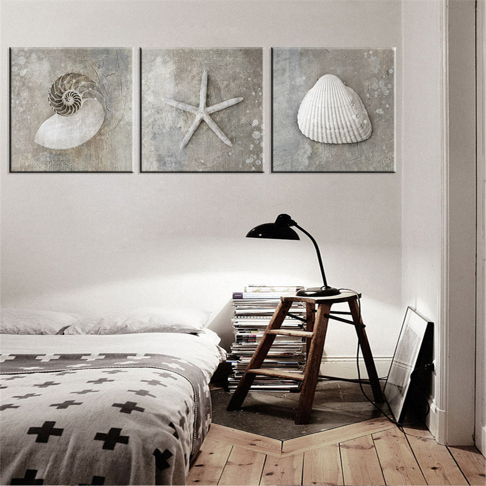 Free Shipping 4pcs Shell Pearl Beach Wall Painting Print: Online Buy Wholesale Coconut Shell Art From China Coconut