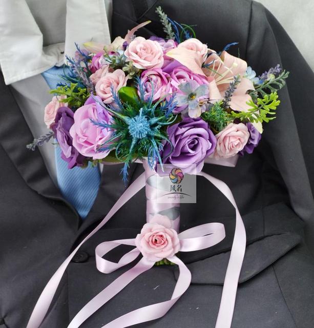 Handmade Wedding Bouquets Floral Bridal Bridemaids Bouquet Rose Lily Daisy Flower Artificial Flowers Decoration Supplies