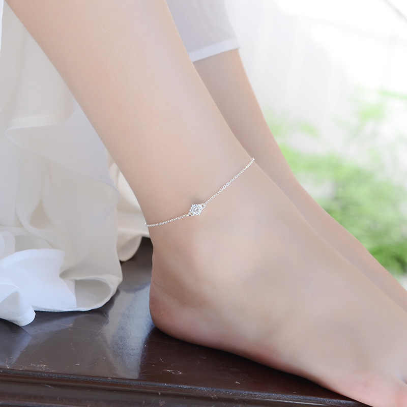 LUKENI Beautiful Crystal Round Female Anklets Jewelry Fashion 925 Sterling Silver Bracelets For Women Birthday Party Accessories