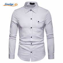 Covrlge New 2019 Spring Button Down British Style Military Shirt Men Long Sleeve Casual Shirts Tactical Business MCL190