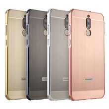 For Huawei Mate 10 Lite Case Maimang 6 Brushed Back Cover Hard with Plating Metal Frame for 5.9