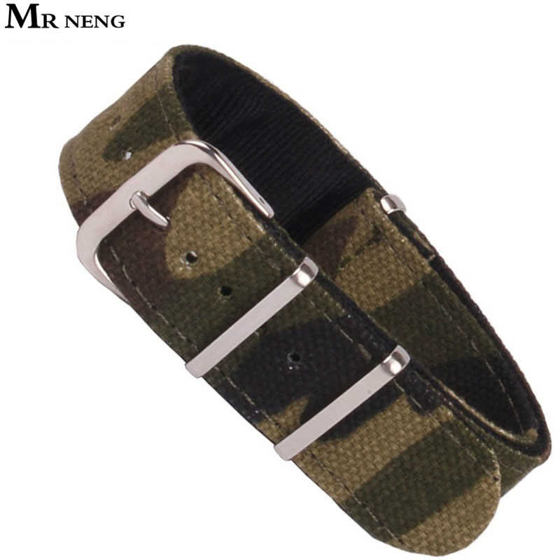 купить MR NENG Army Military Nato Nylon Watch 18 20 22 mm Camouflage fabric Woven watchbands Strap Band Buckle belt 22mm accessories по цене 543.71 рублей