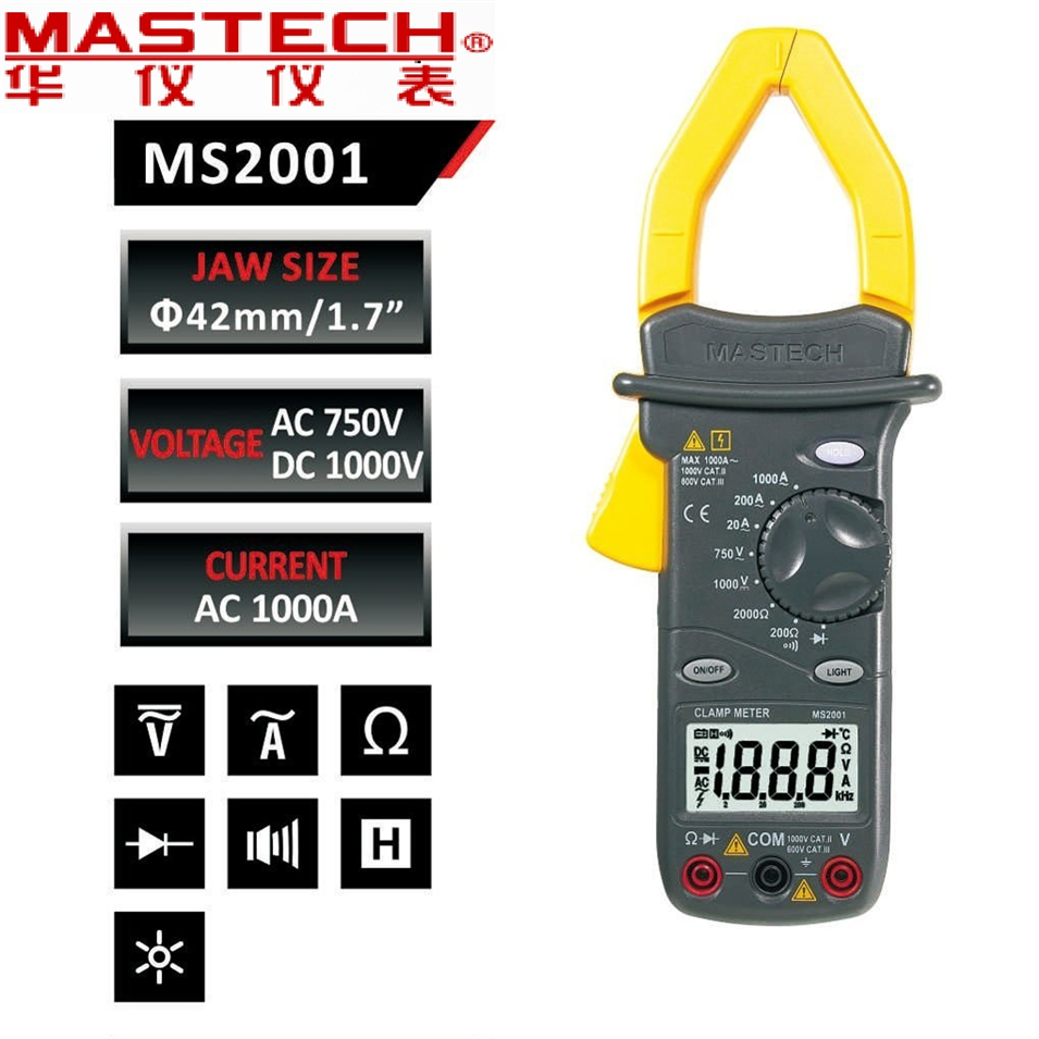 <font><b>MASTECH</b></font> <font><b>MS2101</b></font> 1000A AC/DC Digital Clamp Meter DMM Hz/C measured capacitance frequency temperature 4000 Counts with Storage Bag image