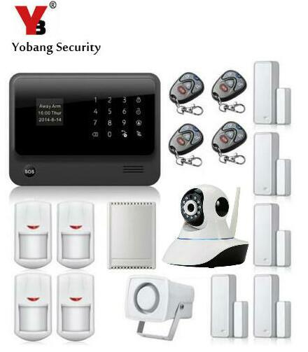 YoBang Security Android IOS APP WIFI GSM Home Burglar Security Alarm System With IP Camera Relay PIR Motion Detector Smoke Alarm