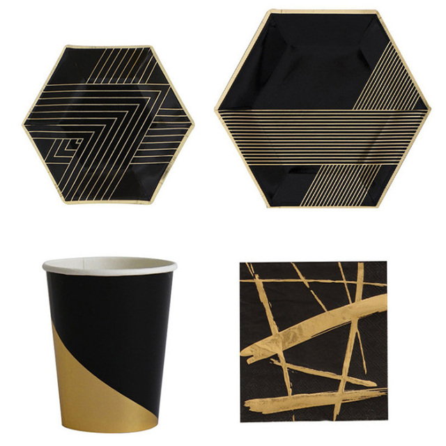Black Series Gold Blocking Disposable Tableware Baby Shower Birthday Party Paper Plates Cups Napkins Wedding Decoration  sc 1 st  AliExpress.com & Black Series Gold Blocking Disposable Tableware Baby Shower Birthday ...
