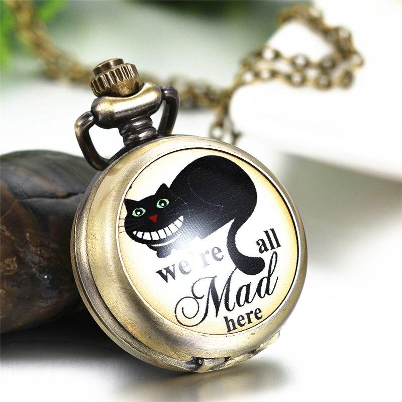 Lancardo Vintage Bronze Copper Quartz Mad Cat Pocket Watch Men Women Cute Pendant Necklace Chain Gift