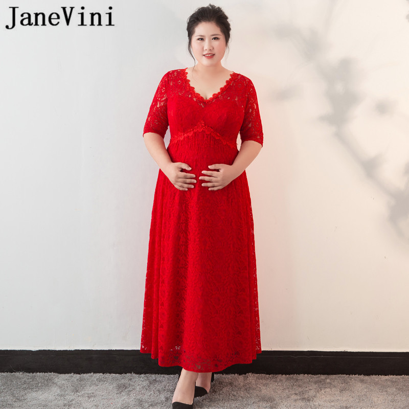 US $139.99 45% OFF|JaneVini Plus Size Evening Dresses for Pregnant Women  Red Lace A Line Long Party Dress Elegant Half Sleeve Jurk Lang Formal  Gown-in ...