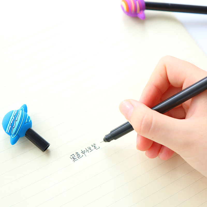 2X Fantastic Galaxy Star Sky Planet Silicone Gel Pen Writing Signing Pen Student Stationery School Office Supply Kids Gift