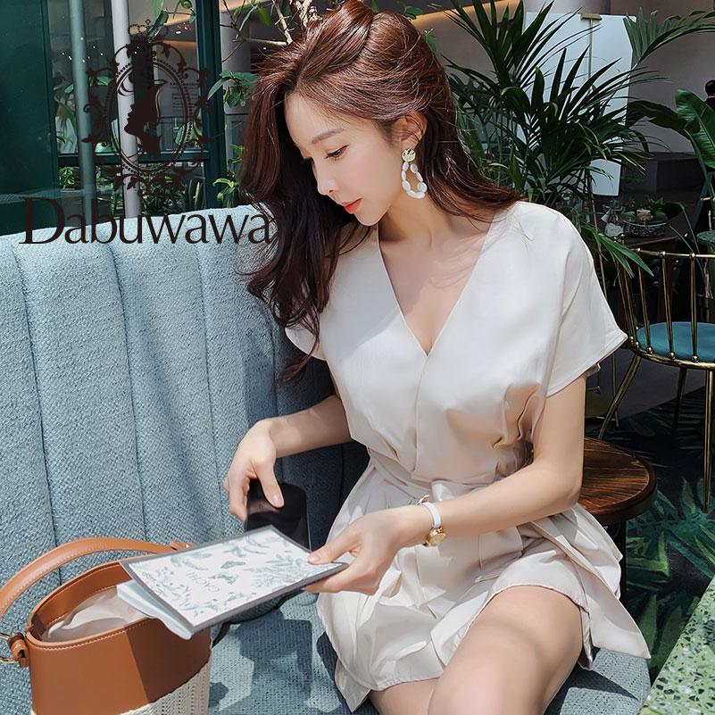 Dabuwawa Women s Elegant 2 Pieces Set 2019 New Summer Fashion Office Lady V Neck Shirts