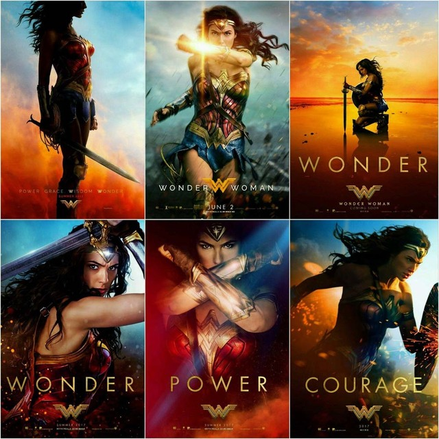 ZP191 NEW Set 6 Pcs Posters Gal Gadot Wonder Woman 2017 Movie Art Poster Silk Light