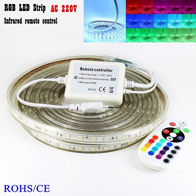 IR remote control RGB led strip 60leds / m Waterproof led light SMD5050 + AC220V 600W Power Plug Colorful Christmas decoration
