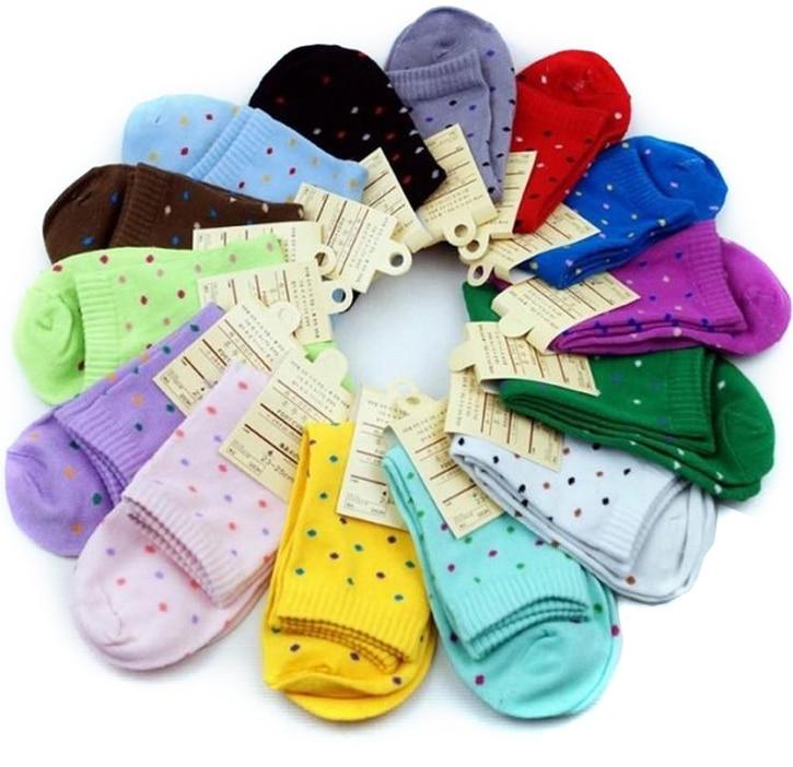 Fashion Cute Short Socks Women Harajuku Candy Color Dot Patterend Cotton Socks Hipster Skatebord Ankle Funny Socks Female Meias