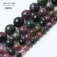Cuentas sueltas de turmalina de colores naturales AA para fabricación de joyería, collar de pulsera con cuentas DIY, soporte de 4/6/8/10mm