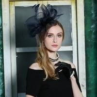 New Designer Fedoras Hat Lady Flower Wedding Hat Original Elegant British Little Party Headwear Female Church Hat Black B 8168