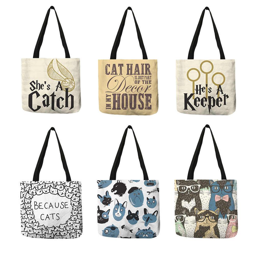 Сумка-тоут с милым принтом кота для женщин, льняная складная сумка, многоразовые сумки для шоппинга, дорожная школьная сумка на плечо