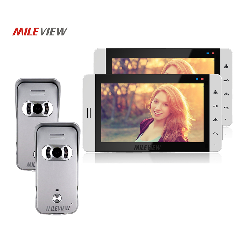 FREE SHIP New Home Security 7 Wired Video Door Phone Intercom System Kit Two White Monitor
