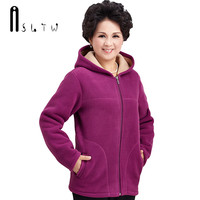 ASLTW Fleece Women Jacket New Middle Age Womens Imitation Lambs Jackets With Hooded Plus Size Solid Ladies Coats Overcoats