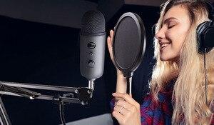 Image 5 - Microfono Pop Filter Scoppio di Rete Parabrezza Registrazione Antivento Microfono per il Blu, Yeti, Yeti Pro Copertura Della Staffa A Sbalzo