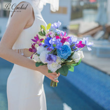PEORCHID verano coloridas Flores De boda ramos De novia azul púrpura Ramo De Flores Artificial Vintage Ramo De mano nupcial 2019