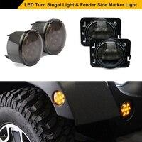 Smoke Lens LED Turn Signal+Fender Side Marker Parking Light For Jeep JK 2007 2016