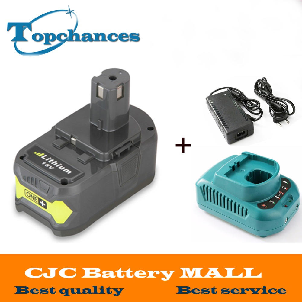 High Quality 18V 4000mAh Rechargeable Battery Pack Power Tool Battery For Ryobi Hot P108 RB18L40 +Charger 18v 3 0ah nimh battery replacement power tool rechargeable for ryobi abp1801 abp1803 abp1813 bpp1815 bpp1813 bpp1817 vhk28 t40