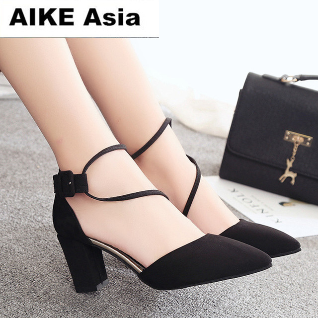 2deae27f009 2018 Women Pumps Ankle Strap Thick Heel Women Shoes Square Toe Mid Heels  Dress Work Pumps