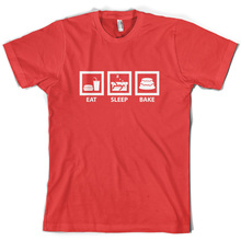 Eat Sleep Bake - Mens Baking T-Shirt 10 Colours Cake / Cupcake Print T Shirt Short Sleeve Hot Tops Tshirt Homme