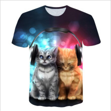 Solar Kitten T-Shirt Cat Vomiting A Waterfall Onto Earth Vibrant 3d Tee Shirt Galaxy Nebula Space T Tops For Women Men