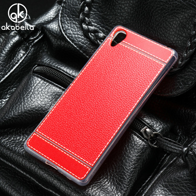 AKABEILA <font><b>Phone</b></font> Case For SONY <font><b>Xperia</b></font> X Dual F5122 F5121 5.0 inch Litchi Silicone Soft TPU Cover Bags Housings