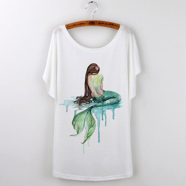 tumblr kawaii sereia real verão 2017 encabeça mulheres t shirt