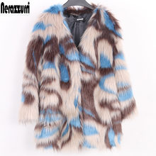 Nerazzurri Multi kleur bontjas winter drop schouder warm furry faux fur jas vrouwen 2019 v-hals plus size uitloper 5xl 6xl 7xl(China)
