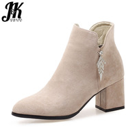 JK Crystal Thick High Heels Ankle Women Boots Round Toe Footwear Zip Female Bootie Casual Shoes Women 2018 Plus Size 43