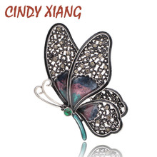 CINDY XIANG Rhinestone Large Butterfly Brooches for Women Elegant Colorful Insect Pins Vintage Fashion Beautiful Good Gift