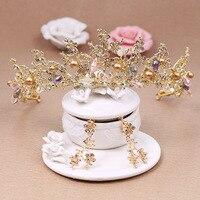 Bijoux de mariée perle cristal coiffe tête fleur ornements de cheveux à la main grand diadème boucles d'oreilles cheveux bandes papillon couronne