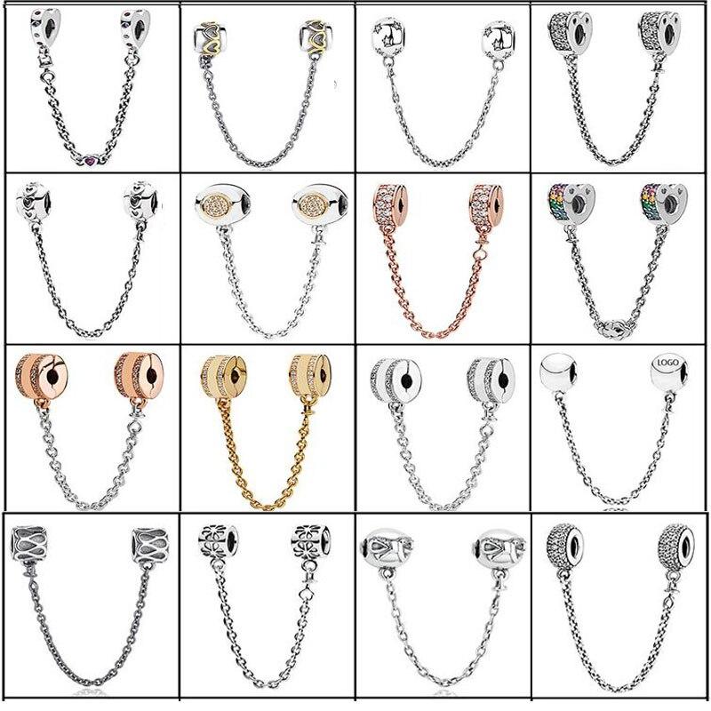 2018 Authentic 925 Sterling Silver Daisy Bow Limpar CZ Corrente de Segurança Charme Beads Fit Pulseira Original Jóias Pulseira PARA O presente