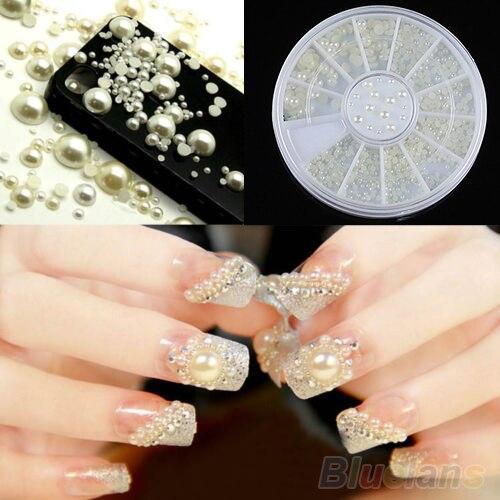 3 Sizes Nail Art White Pearl Rhinestone Decoration Wheel  1F1G уход за ногтями essence nail white pencil цвет white variant hex name edecf1