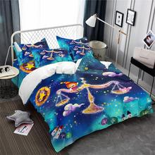 Kids Dreamlike Cartoon Bedding Set Libra Constellation Design Duvet Cover Colorful Galaxy Soft Bedclothes Home Decor