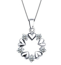 Anenjery Silver Color Crystal Zircon Love Heart Wedding Necklaces For Women collares T-N25(China)