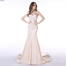 Фотография vestido de festa vestido longo Real Picture Mermaid Long Evening Dress  V Neck Beaded Zipper Court Train Prom Formal Party Gown