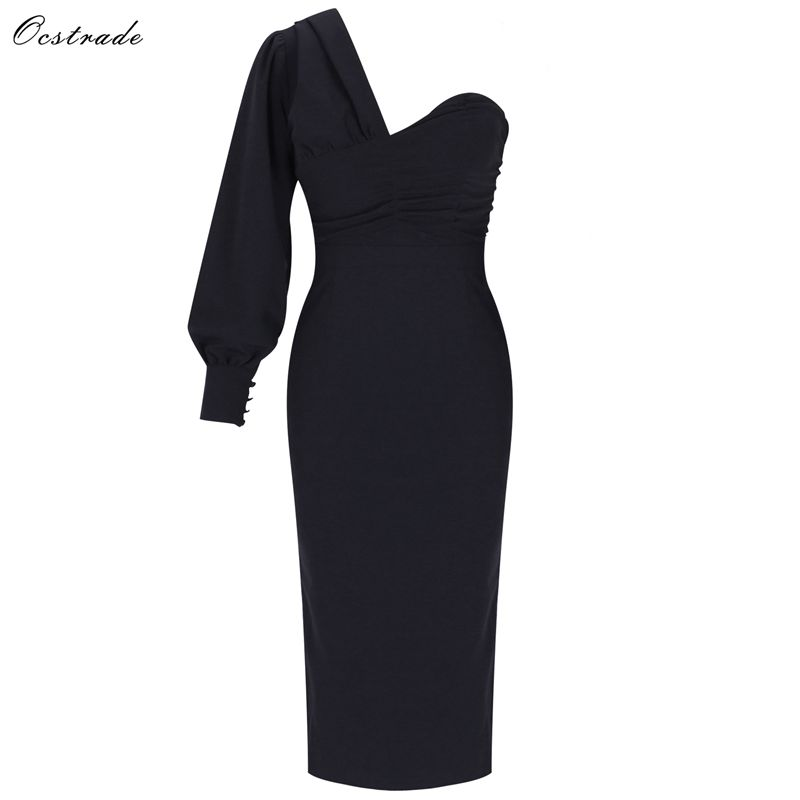 Ocstrade 2019 Autumn Women Fashion Sexy Bodycon Party Dress Draped One Shoulder Devening Dress Black Bodycon