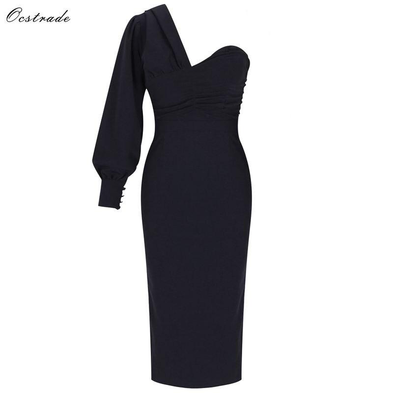 Ocstrade 2019 Autumn Women Fashion Sexy Bodycon Party Dress Draped One Shoulder Devening Black Long Sleeve Dresses