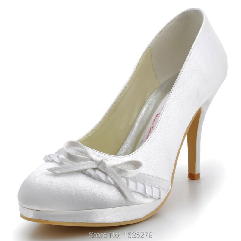 EL-032-PF  Women White Bride Bridesmaids Prom Party Round Closed Toe Heel Heels 4 Bridal Pumps Bowtie Satin Wedding Shoes