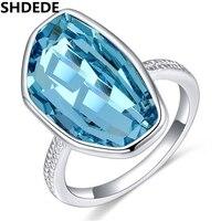 תכשיטי אופנה טבעות אירוסין לנשים SHDEDE הגדול קריסטל סברובסקי נשי טבעת נישואים מתנת יום הולדת 22959