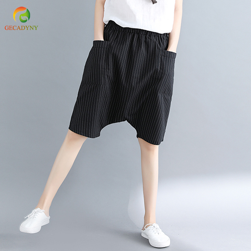Women's   Pants   Plus Size Women Striped   Pants   Casual Literary Cross   Pants     Capri   Cotton Linen Knee Length Trousers Girls M-XXL