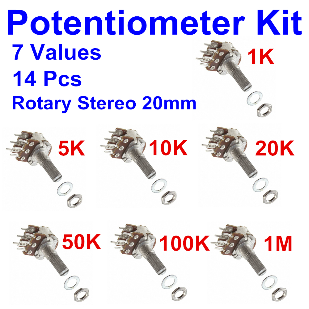 PHISCALE 14 Pcs Duplex Rotary Potentiometer (stereo) Kit 7 Values 1K ~1M 20mm Side Adjustment Linear Variable Resistor Pack 150w 5 ohm ceramic potentiometer variable linear pot resistor rheostat