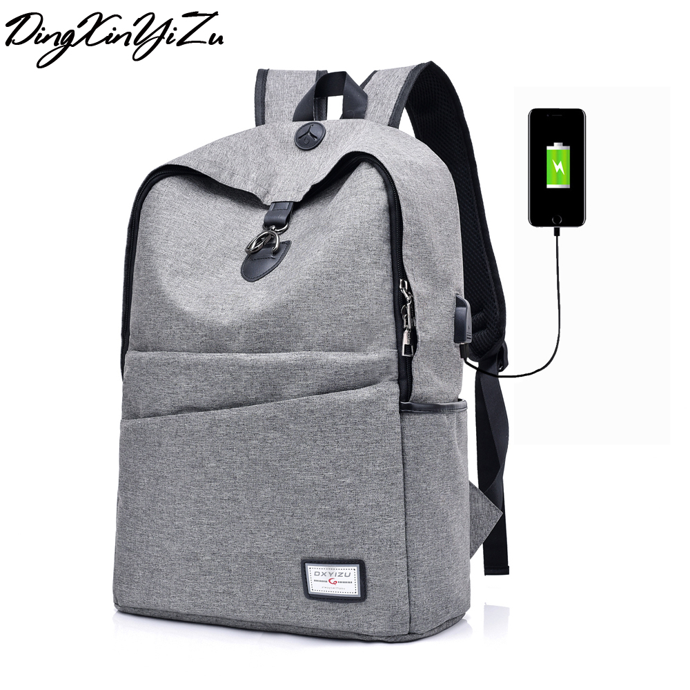 2008 New USB Charging Mens Backpacks Male Business Travel women Teenagers Student School Bags Simple Notebook Laptop Backpack