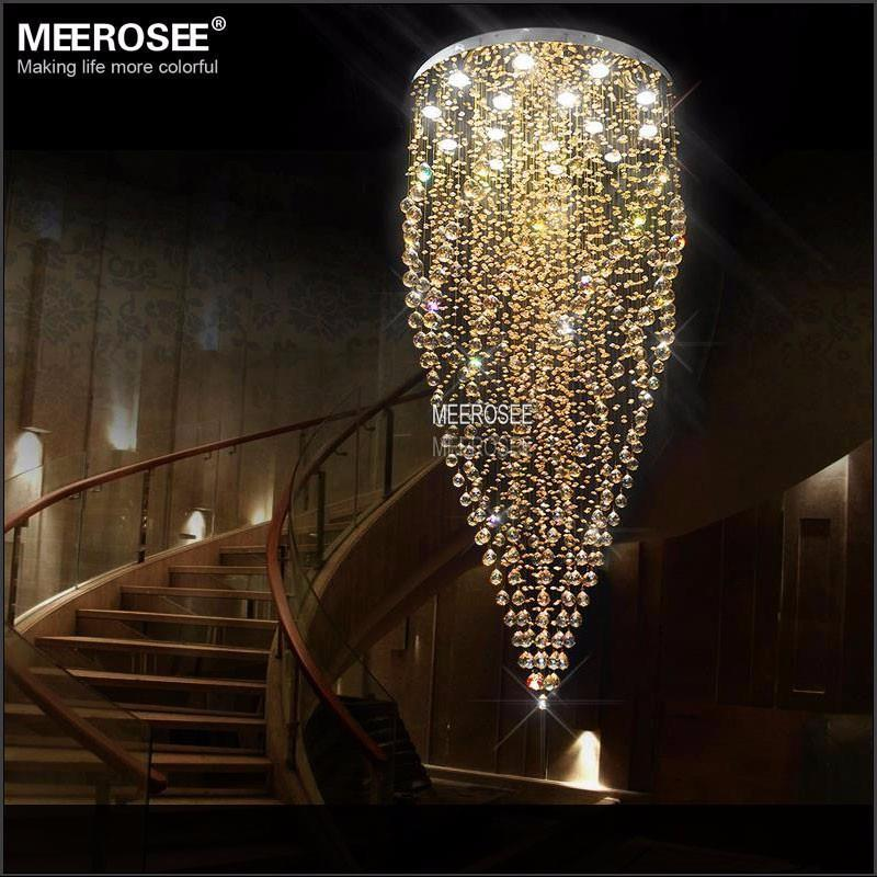 Large Crystal Ceiling Lights Fixture Amber Crystal Light lustre de cristal Lamp for Stair, Staircase with GU10 bulbs Dia 800mm