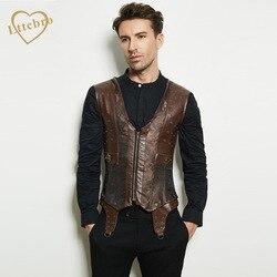 Corset para hombre Steampunk chaleco moldeador Collar marrón sin mangas acero deshuesado gótico chaqueta de corsé corsés adelgazantes para hombres